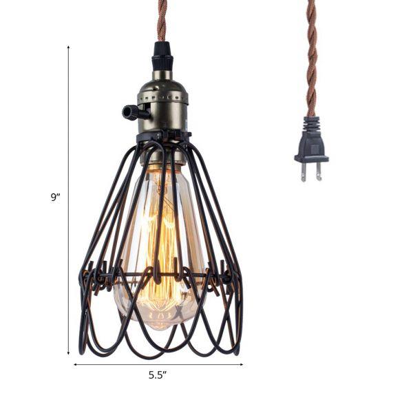 Open Caged Metallic Pendant Lighting Rustic Industrial 1 Bulb Living Room Hanging Light in Black Pendant Lights yN08c