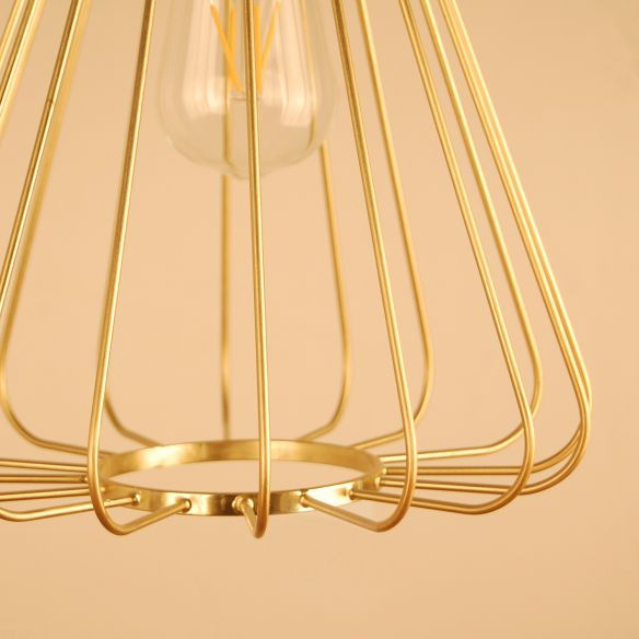 1 Bulb Conical Hanging Light with Cage Shade Vintage Loft Polished Brass/Copper Metallic Pendant Lamp for Kitchen Pendant Lights fmSIH