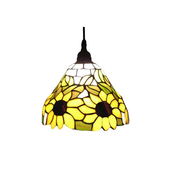 Trumpet Hanging Lamp Tiffany-Style Yellow  Stained Art Glass 1 Head Ceiling Pendant Light Pendant Lights DQtmE