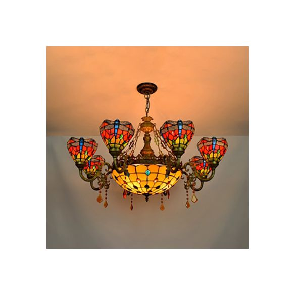Stained Glass Bowl-Shaped Hanging Light Rustic 9 Lights Chandelier with Crystal in Multicolor for Bedroom Chandeliers 2n9ZN