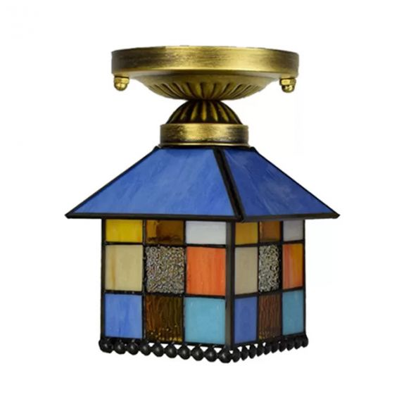 1 Head House Flush Lighting Rustic Lodge Style Stained Glass Flush Mount Lamp in Black/Blue/Brass/Clear/Blue-Clear for Foyer Close To Ceiling Lights 2NJm9
