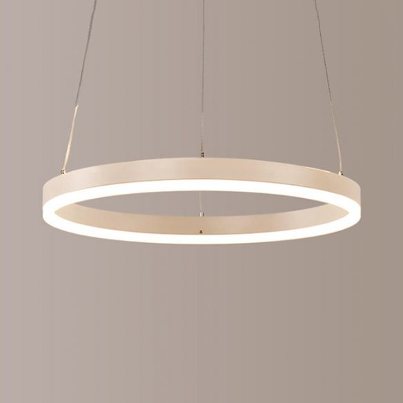 1/2/3-Light Living Room Chandelier Pendant with Ring Acrylic Shade Brown/Black/White Ceiling Light in Warm/White/Natural Light Chandeliers h22N3
