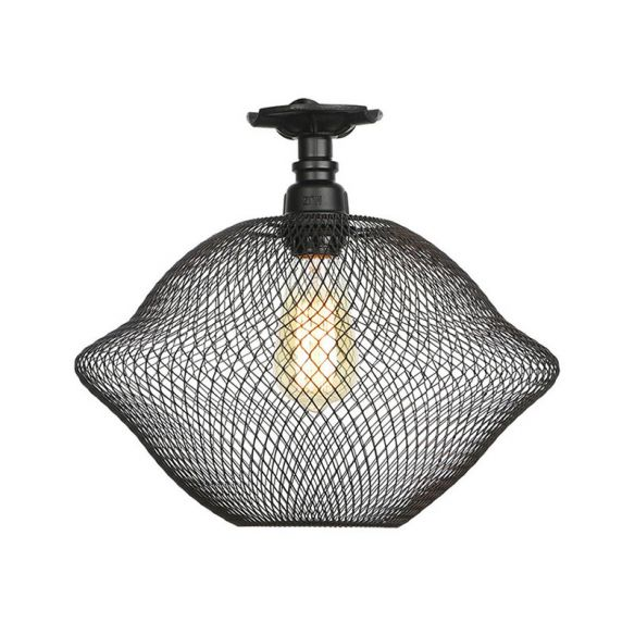 1 Bulb Saucer/Barrel Semi Flush Light Industrial Stylish Black Finish Metal Ceiling Mounted Light with Mesh Screen Close To Ceiling Lights OOAns