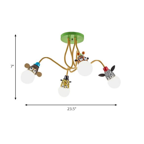 Animal Shaped Ceiling Fixture Cartoon Style Metal Multi-Color Pendant Light for Kindergarten Close To Ceiling Lights pRO32