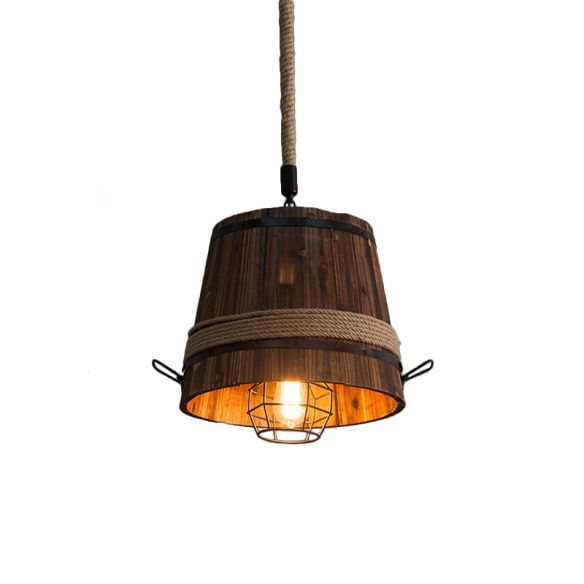 Wooden Bucket Shade Pendant Lighting One Light Rustic Stylish Hanging Lamp in Brown for Bar Pendant Lights aNFS6