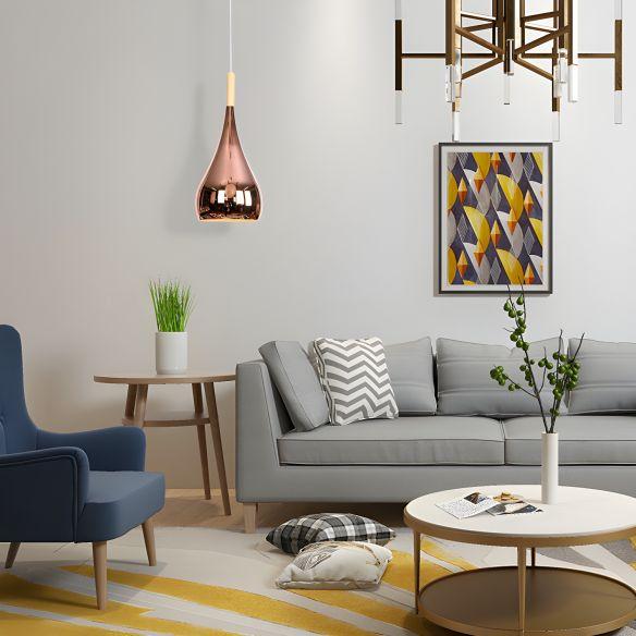 1 Bulb Teardrop Shade Hanging Light Fixture Contemporary Chrome/Rose Gold Metal Pendant Ceiling Light for Kitchen Pendant Lights Z0KU4
