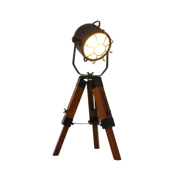 Loft Industrial Bell Shade Desk Lamp with Tripod 1 Head Metal and Wood Small Table Lamp in Brown Table Lamps gBH8b