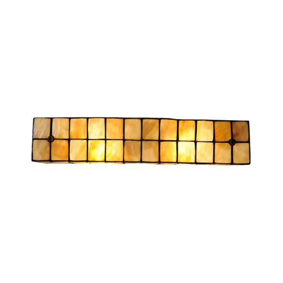 Tiffany Style Linear Wall Light with Square/Flower Pattern 2 Lights Shell Sconce Light in Beige for Living Room Wall Lamps & Sconces o6EJC