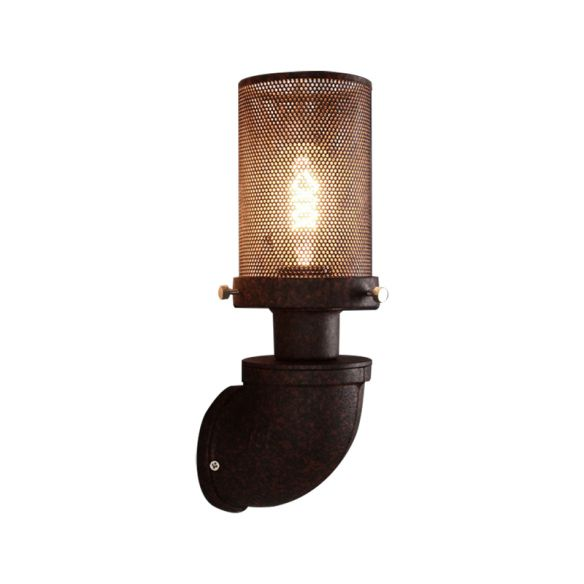 1 Light Metal Wall Lamp Industrial Rust Caged Cylinder Dining Room Sconce Light Fixture Wall Lamps & Sconces SWiE2