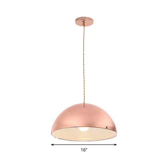 Contemporary Rose Gold Pendant Light Domed Shade 12