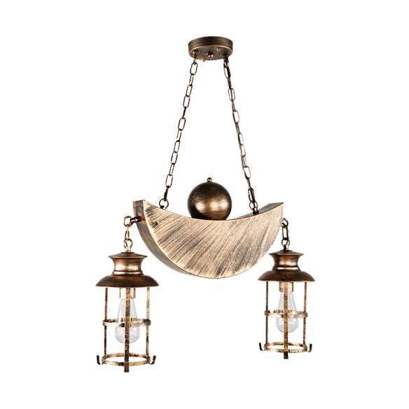 Caged Living Room Pendant Chandelier Retro Industrial Metal 2 Lights Gold/Silver Hanging Fixture Chandeliers Udh7T