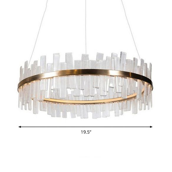 1/2 Lights Living Room Chandelier Lighting with Drum Crystal Shade Post Modern Gold LED Suspension Pendant Chandeliers nwKca