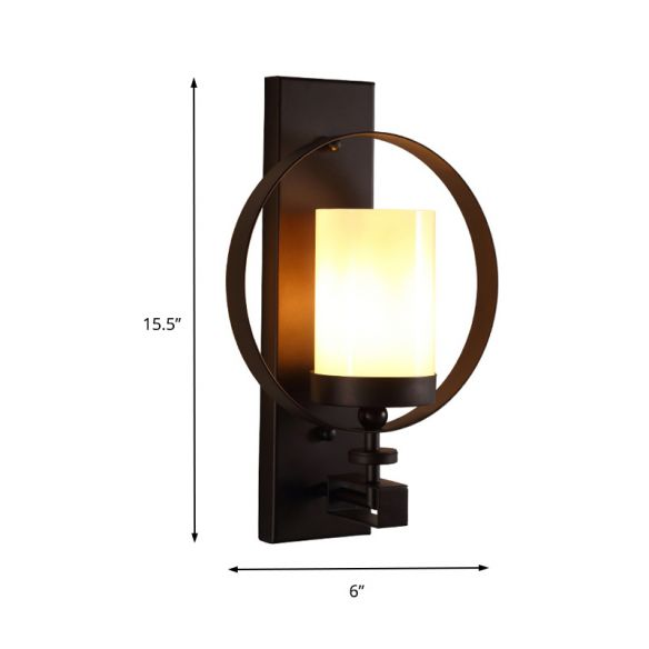 1 Bulb Cylinder Lighting Industrial Black Opal Glass Wall Mounted Light Fixture for Living Room Wall Lamps & Sconces jVBxE