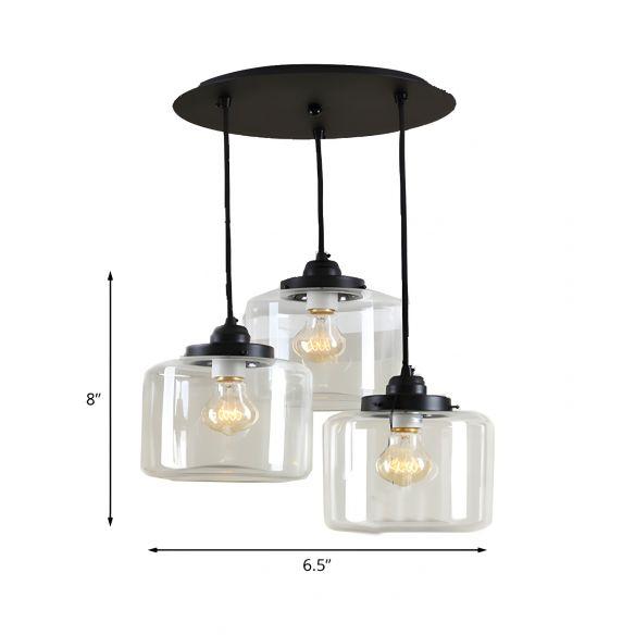 3 Lights Multiple Hanging Light Traditional Jar Shape Clear Glass Pendant Lighting in Black, Round Canopy Pendant Lights Etyv0
