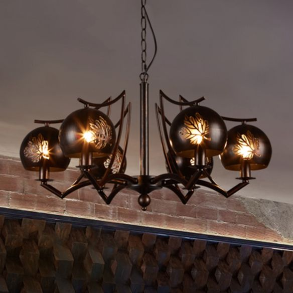 6 Light Ceiling Light Vintage Bubbled Etched Metal Hanging Chandelier in Rust for Dining Room Chandeliers aDKna