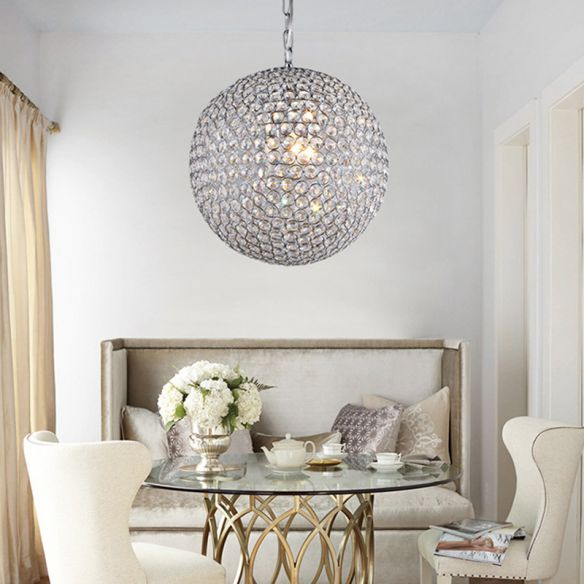 1/3/4/5-Light Bedroom Chandelier with Orb Crystal Shade Silver LED Pendant Lamp, 6