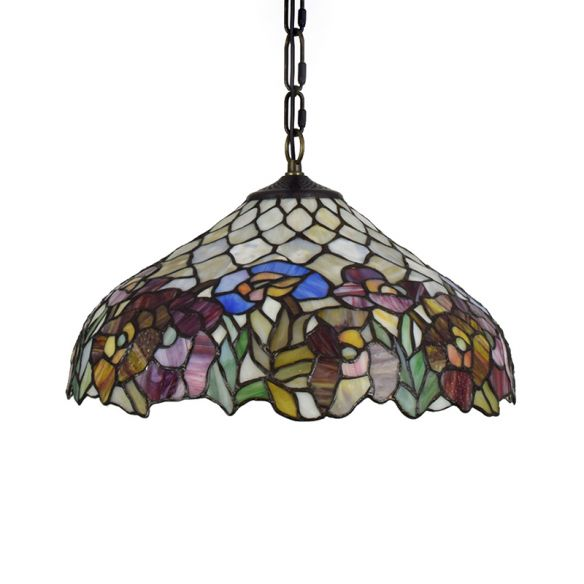 1 Bulb Wide Flare Pendant Lighting Tiffany -Style Black Stained Art Glass Hanging Ceiling Light Pendant Lights e93gs