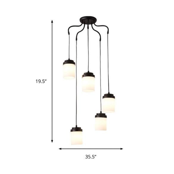 Cylinder Shade Hanging Light Contemporary Frosted Glass Pendant Lamp in Black & White for Kitchen Chandeliers 1PtFi