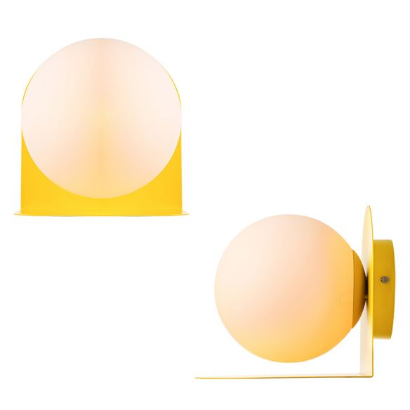 White Globe Wall Light Nordic Style Frosted Glass Sconce Light for Study Room Child Bedroom Wall Lamps & Sconces sUsei