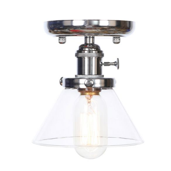 1 Bulb Semi Flush Mount Cone/Bell/Rhombus Industrial Clear/Amber Glass Ceiling Light in Chrome Close To Ceiling Lights 3iYtJ