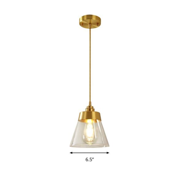 Modern Trapezoid Shade Hanging Lamp One Light Transparent Glass Pendant Lighting for Cafe Pendant Lights gGxE4