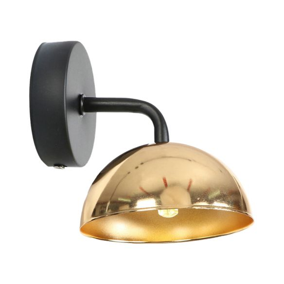1 Light Wall Sconce Industrial Dome Shade Metal Down Wall Light with Curved Arm in Black/Brass for Bedroom Wall Lamps & Sconces N7alB
