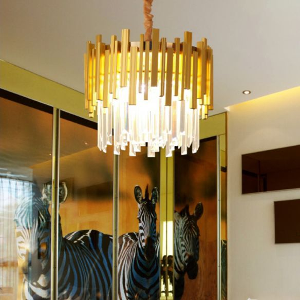 Modern Stylish Silver/Gold Pendant Lamp with Crystal Prism 6 Bulbs Suspension Lamp for Bedroom Chandeliers tbhjP