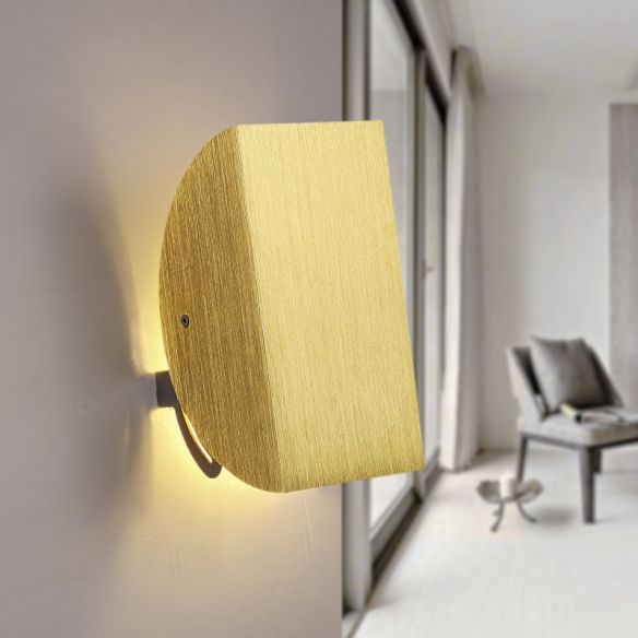 Folded Wall Light Sconce with Semicircle Shade Modern Style Aluminum 1 Light Black/Gold Wall Mount Light Wall Lamps & Sconces cKEIh