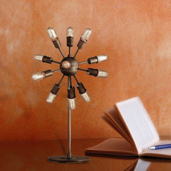 Farmhouse Sputnik Table Lighting Multi Light Iron Standing Light with Open Bulb in Black for Coffee Shop Table Lamps JOMyt