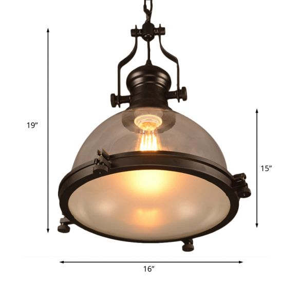 1-Light Dome Shade Pendant Lighting Fixture Industrial Black Clear Glass Hanging Ceiling Light with Trim Ring Pendant Lights s6Xxj