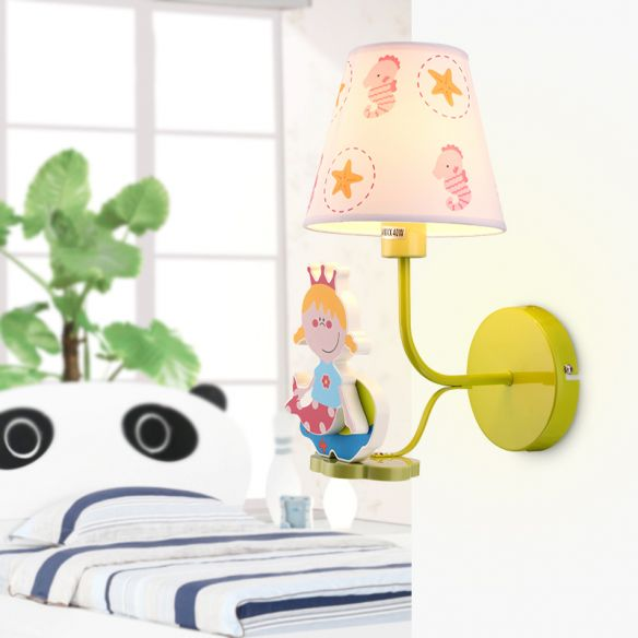 Wood Princess Wall Light with Seahorse Girls Bedroom 1 Head Cartoon Wall Sconce Wall Lamps & Sconces yMaPf