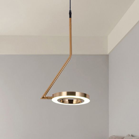 Gold Ring Hanging Pendant Light Minimalist Metal LED Dining Room Ceiling Lamp with Curved Arm Pendant Lights GsYF9