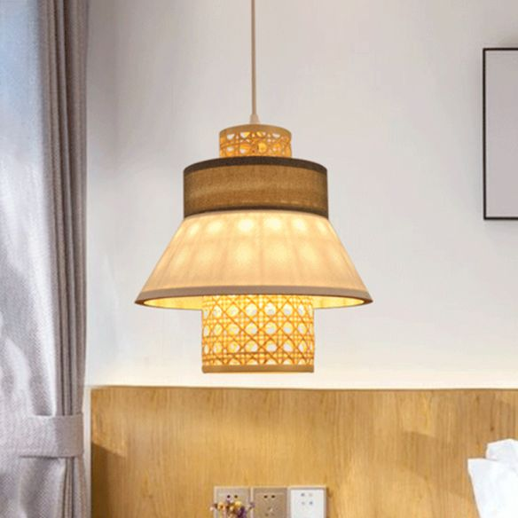 Fabric 1 Light Bedroom Pendant Lamp, Asian Style Hanging Lamps