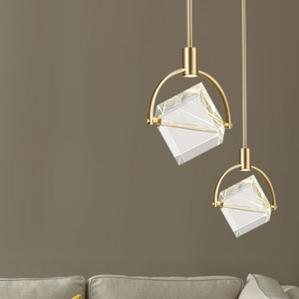Clear Glass Cubic Hanging Lamp Kit Contemporary Gold Pendant Ceiling Light for Bedroom Pendant Lights ouJQ5