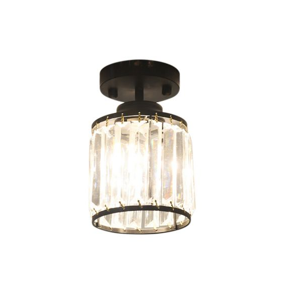 1 Light Corridor Semi Flush Light Contemporary Gold/Black Ceiling Light with Cylinder Crystal Block Shade Close To Ceiling Lights XxWYm