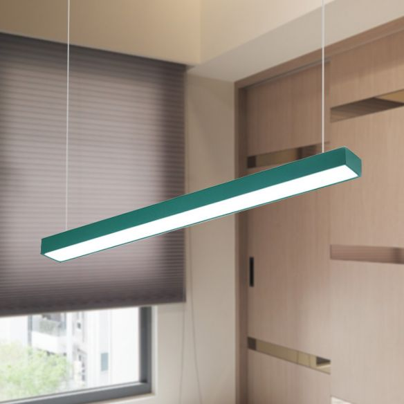 Yellow/Green/Blue Rectangular Linear Pendant Lighting Minimal Led Metal Hanging Lamp for Office Pendant Lights o3jyL
