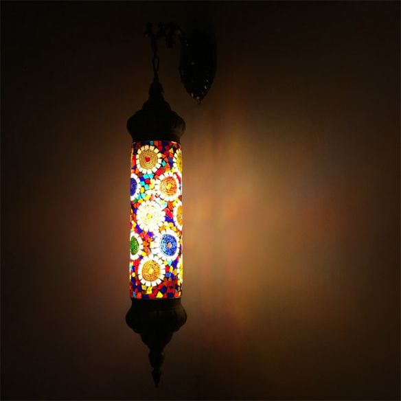 1 Bulb Cylinder Sconce Lamp Retro Red/Yellow/Blue Glass Wall Lighting Fixture with Metal Arm for Living Room Wall Lamps & Sconces n5ZQE