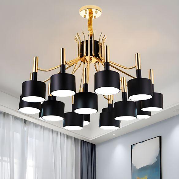 Starburst Ceiling Pendant Light with Drum Metal Shade Modern 12/15 Lights Black/White Chandelier Light for Bedroom Chandeliers RroVO