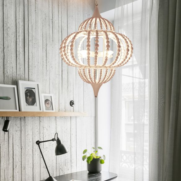 9-Light Chandelier Pendant Cottage Wooden Lantern Ceiling Light Fixture in White Chandeliers Lcvn4