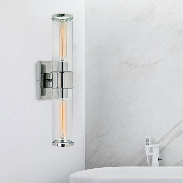 Tube Wall Lamp Traditional Clear Glass 2 Bulbs Brass/Chrome Sconce Light Fixture for Bedside Wall Lamps & Sconces 3JoTO