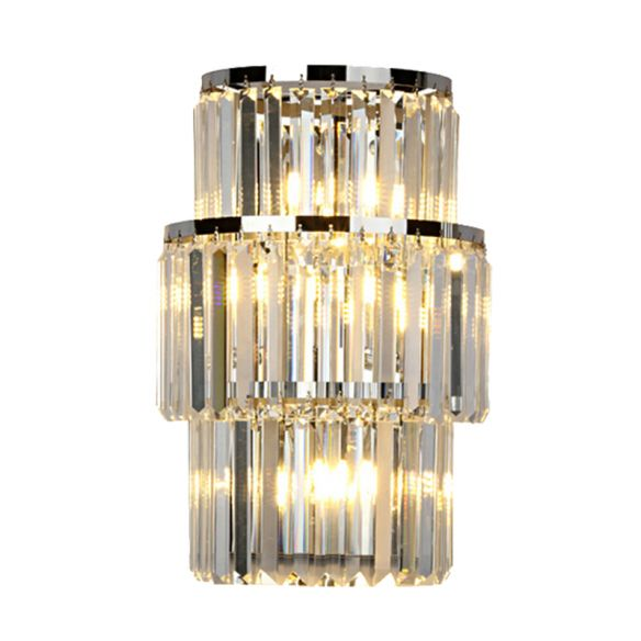 Crystal Block Cylinder Wall Mounted Light Contemporary 3 Lights Silver Sconce Light Wall Lamps & Sconces mGung