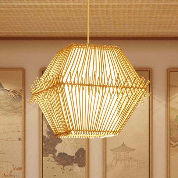 1 Bulb Tapered/Jar Pendant Lighting Traditional Bamboo Hanging Light Fixture in Wood Pendant Lights VdmXs