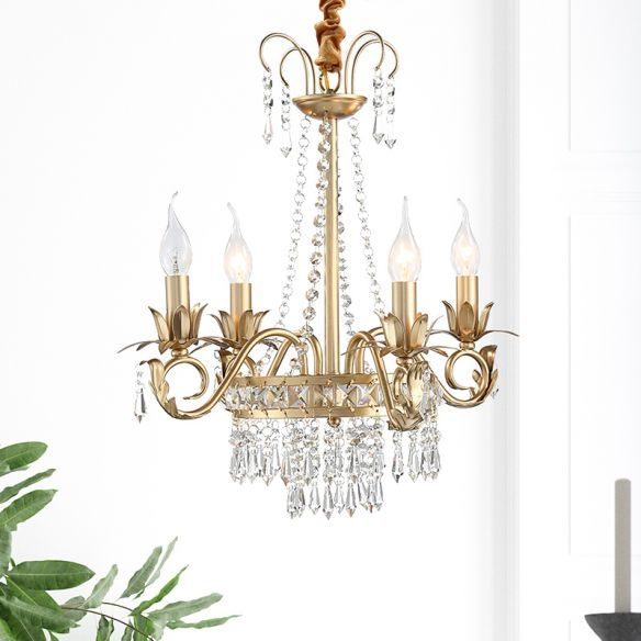 Brass Finish Curved Arm Ceiling Chandelier with Candle Accent Contemporary Crystal 4/6 Bulbs Ceiling Pendant Light Chandeliers lr5xM