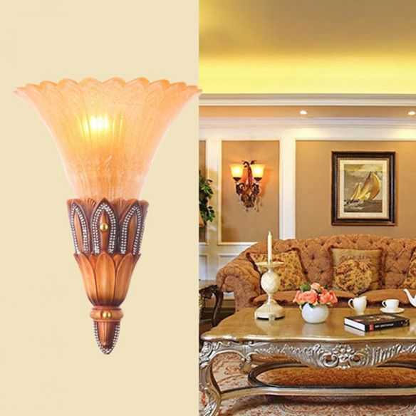 Textured Glass Flower Sconce Light Colonial Single Head Living Room Flush Mount Wall Light in Brown Wall Lamps & Sconces 9ZQBI