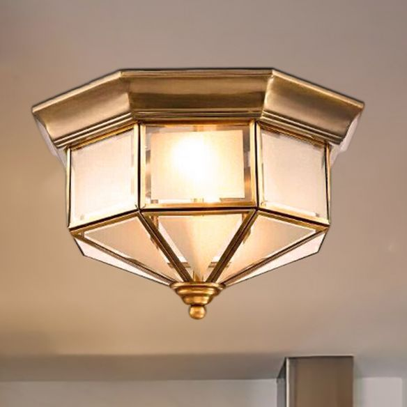 Brass 2 Lights Flush Mount Fixture Colonialism Curved Frosted Glass Octagon Ceiling Mounted Light for Bedroom Close To Ceiling Lights sMcq4
