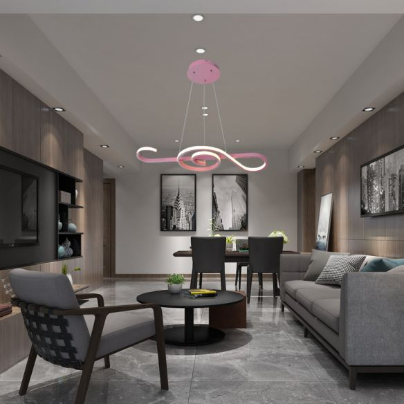 Yellow/Pink Twist Pendant Chandelier Contemporary Acrylic LED Hanging Pendant Light in White/Warm Light for Bedroom Chandeliers JH21X