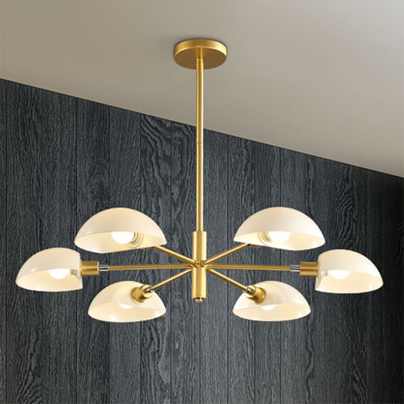 1/2 Tiers Chandelier Lamp Spoon Shade Nordic Simple Style Metal 4/6/8 Lights Hanging Ceiling Light with Black/Gold Rod Chandeliers DPKGZ