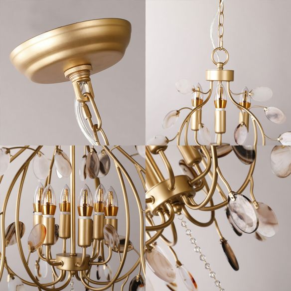 Brass Leaf Chandelier Lighting Modern Metal 3/6 Bulbs Pendant Light Fixture for Bedroom Chandeliers zpZC7