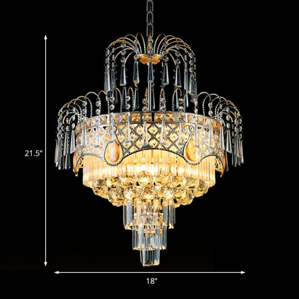 Modern 3/5 Lights Chandelier Light with Crystal Shade Gold Tiered Ceiling Light for Dining Room, 18