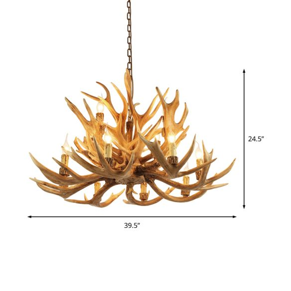 Village Candelabra Hanging Pendant 12 Lights Resin Ceiling Chandelier with Antler in Brown for Living Room Chandeliers qLJFd